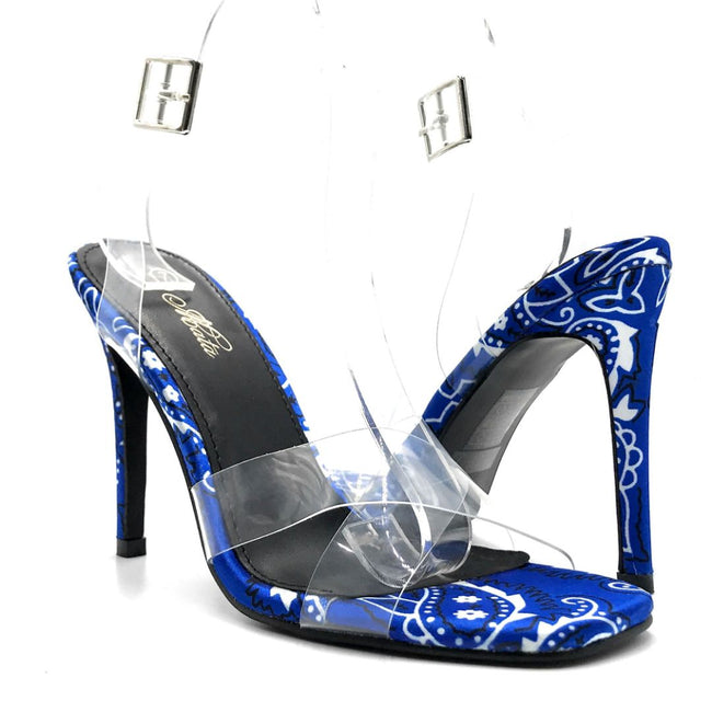 Mata Shoes Chick Fever Blue Bandana Color Heels Both Shoes together, Women Shoes