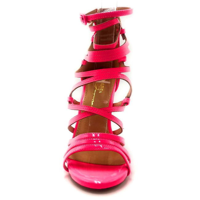 Olivia Jaymes Aries Pink Color Heels Front View, Women Shoes
