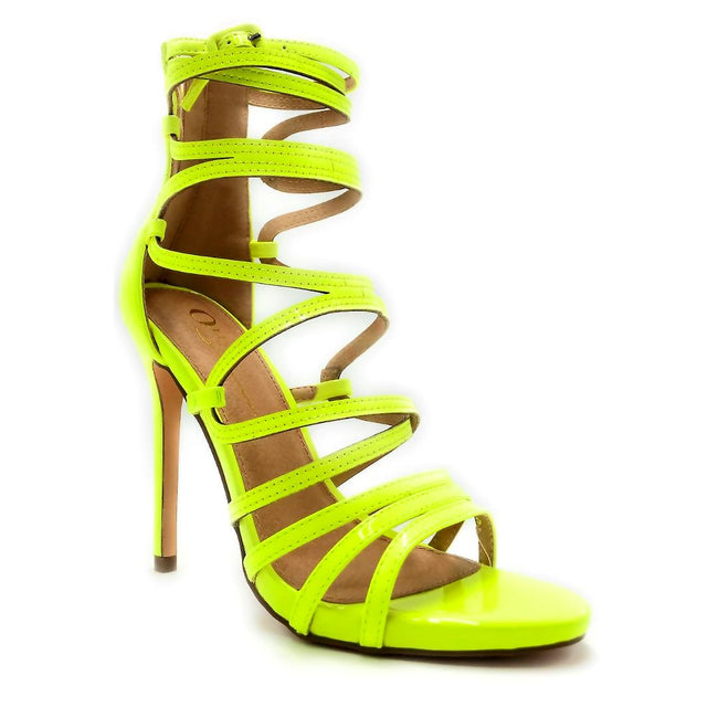 Olivia Jaymes Aries Yellow Color Heels Right Side View, Women Shoes