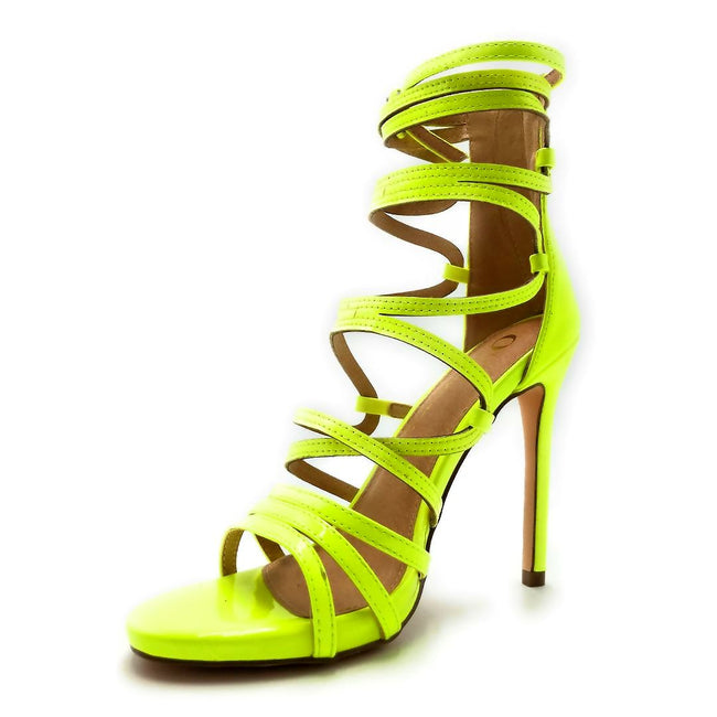 Olivia Jaymes Aries Yellow Color Heels Left Side view, Women Shoes