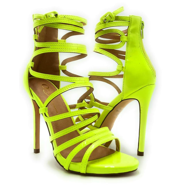 Olivia Jaymes Aries Yellow Color Heels Both Shoes together, Women Shoes