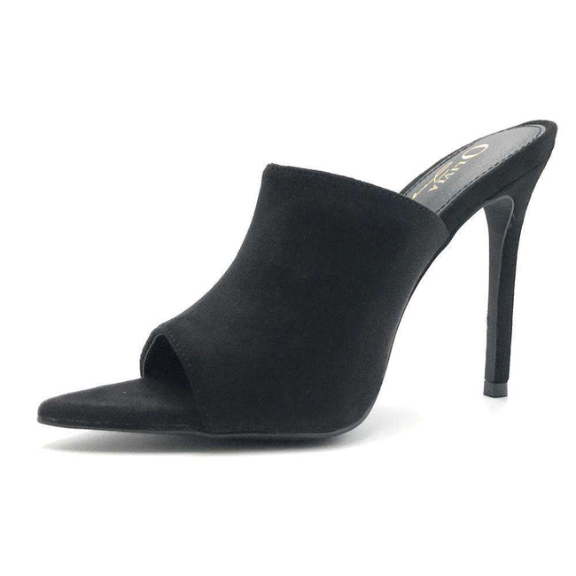 Olivia Jaymes Arrow Black Color Heels Shoes for Women