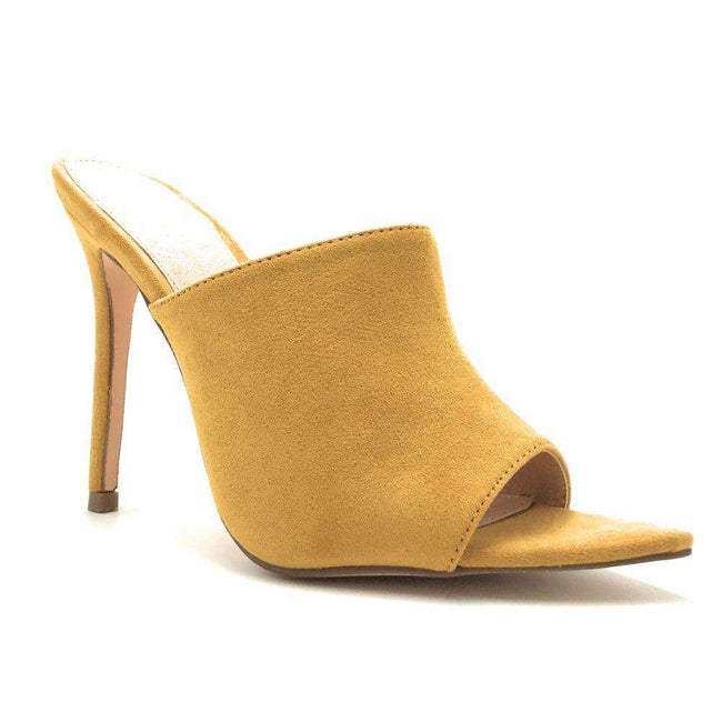 Olivia Jaymes Arrow Mustard Color Heels Shoes for Women