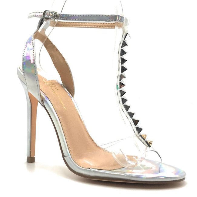 Olivia Jaymes Barbara Hologram PU PVC Color Heels Shoes for Women