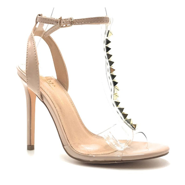 Olivia Jaymes Barbara Taupe Pattent PU PVC Color Heels Shoes for Women