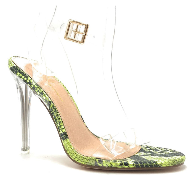 Olivia Jaymes Bibi Neon Yellow Color Heels Shoes for Women