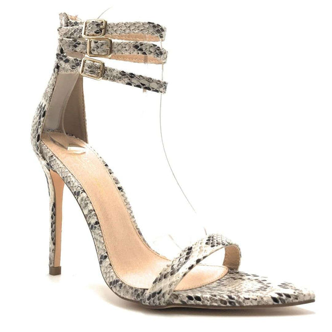 Olivia Jaymes Blair Brown Snake Color Heels Shoes for Women