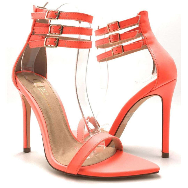 Olivia Jaymes Blair Orange Pu Color Heels Shoes for Women