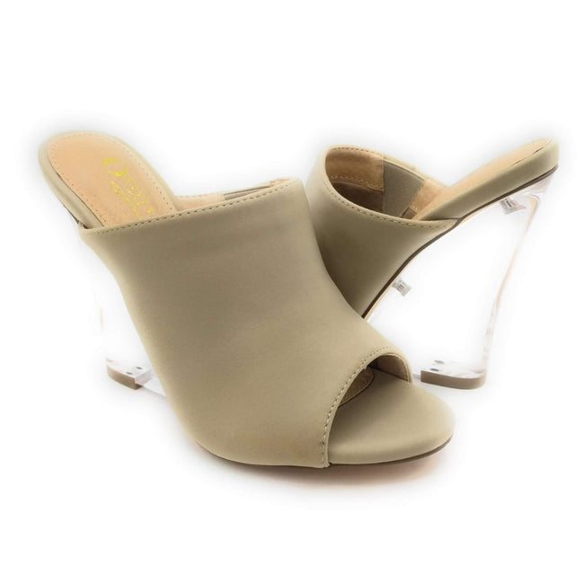 Olivia Jaymes Cali Taupe Lycra Color Wedge Shoes for Women
