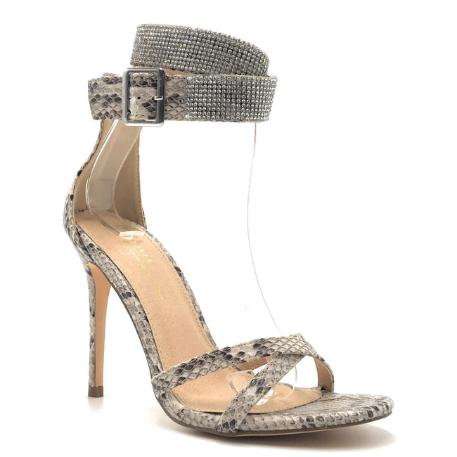 Olivia Jaymes Chelsea Brown snake fabric Color Heels Shoes for Women