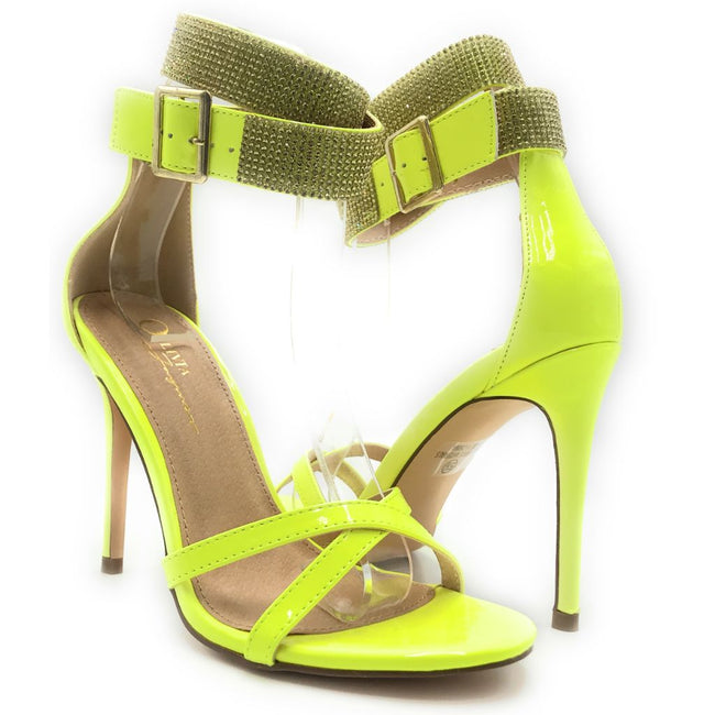 Olivia Jaymes Chelsea N Yellow patent PU Color Heels Shoes for Women