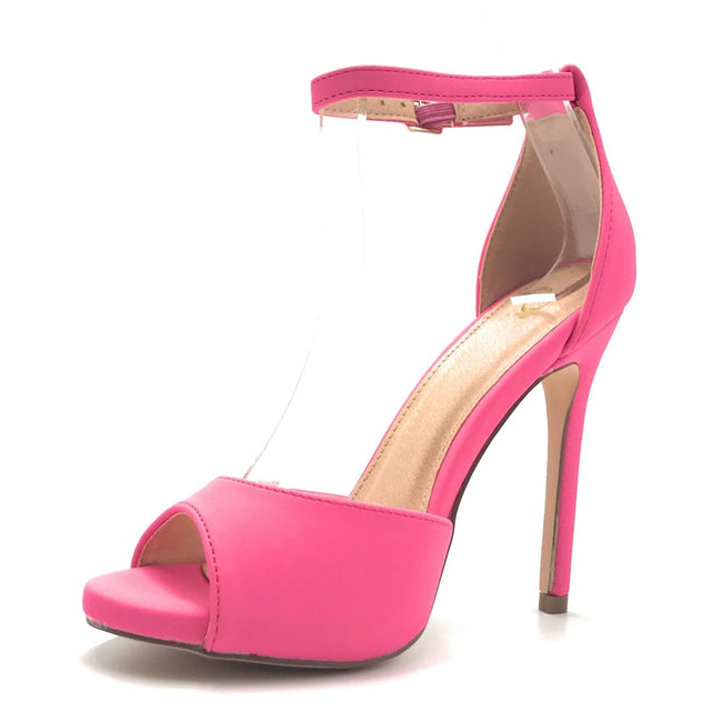 Olivia Jaymes Chloe Hot Pink Nubuck PU Color Heels Shoes for Women