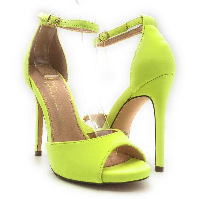 Olivia Jaymes Chloe Neon Yellow Nubuck PU Color Heels Shoes for Women