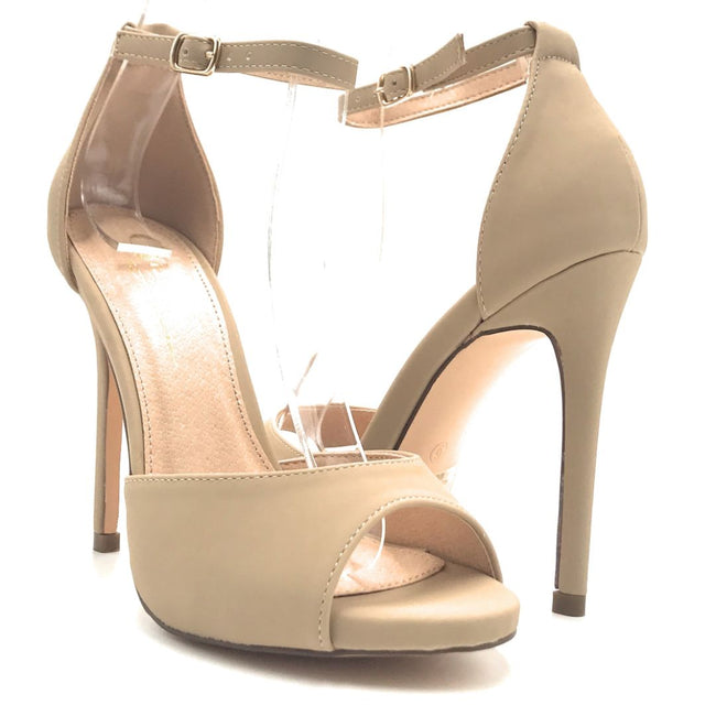 Olivia Jaymes Chloe Nude Nubuck PU Color Heels Shoes for Women
