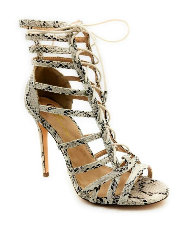 Olivia Jaymes Crissy Brown Snake Fabric Color Heels Right Side View, Women Shoes