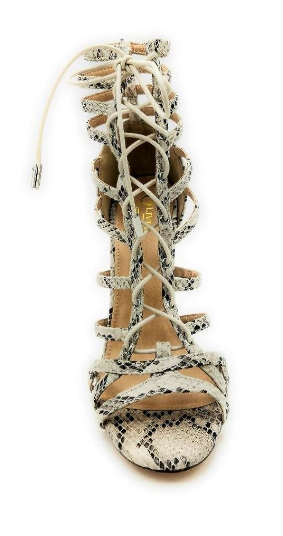 Olivia Jaymes Crissy Brown Snake Fabric Color Heels Front View, Women Shoes