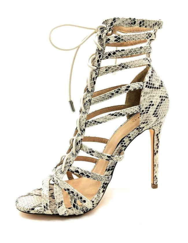 Olivia Jaymes Crissy Brown Snake Fabric Color Heels Left Side view, Women Shoes
