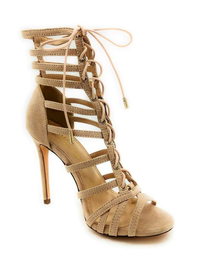 Olivia Jaymes Crissy Camel Suede Color Heels Right Side View, Women Shoes