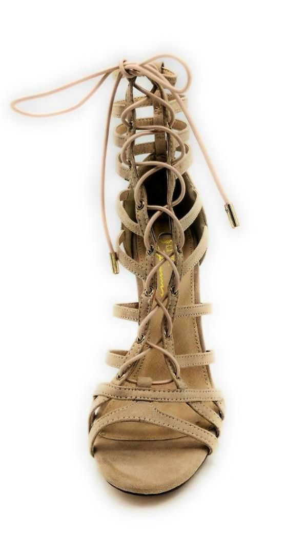 Olivia Jaymes Crissy Camel Suede Color Heels Front View, Women Shoes