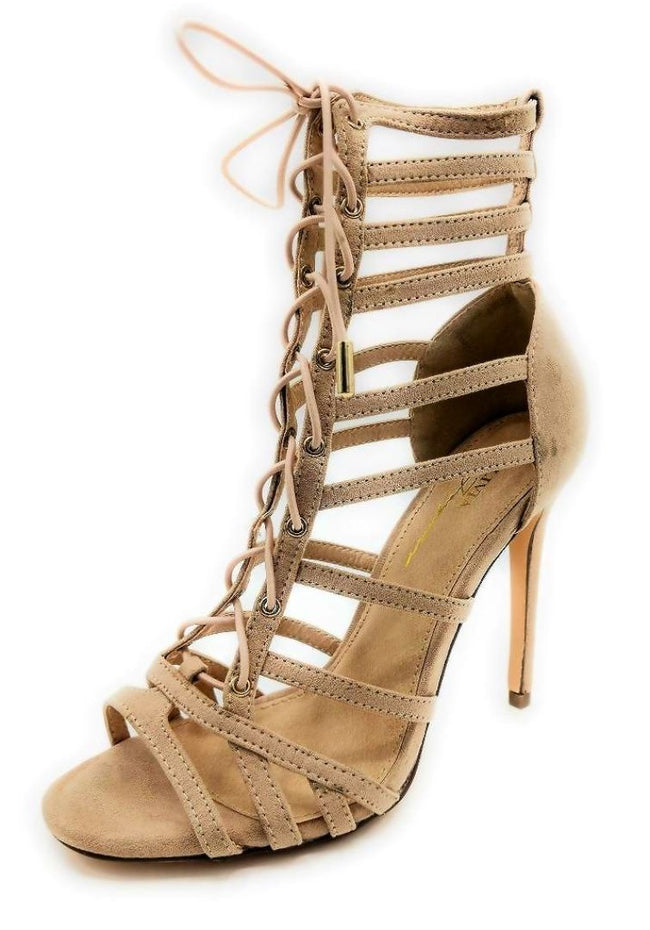 Olivia Jaymes Crissy Camel Suede Color Heels Left Side view, Women Shoes