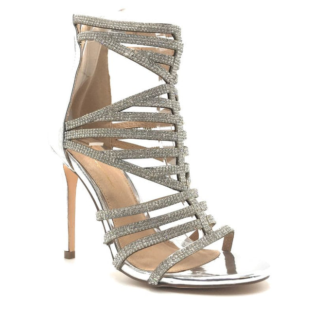Olivia Jaymes Dakota Silver Patent PU Color Heels Shoes for Women
