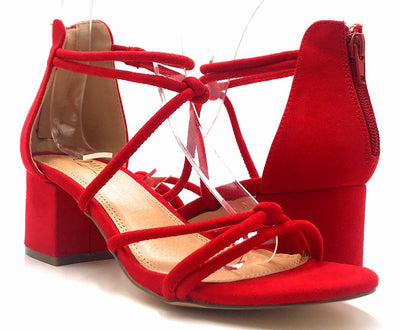 Olivia Jaymes Doris Red Suede Color Heels Both Shoes together, Women Shoes