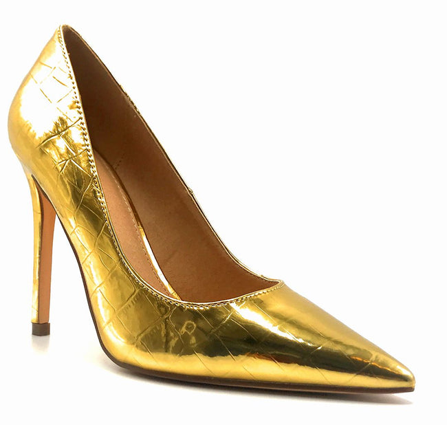 Olivia Jaymes Dundee Gold Croc PU Color Pumps Right Side View, Women Shoes