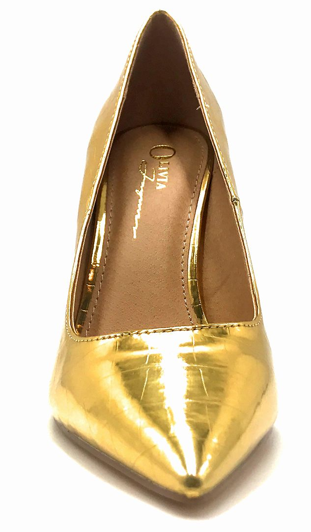 Olivia Jaymes Dundee Gold Croc PU Color Pumps Front View, Women Shoes