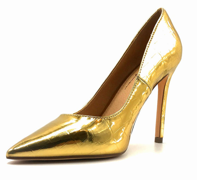 Olivia Jaymes Dundee Gold Croc PU Color Pumps Left Side view, Women Shoes