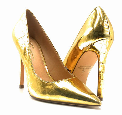 Olivia Jaymes Dundee Gold Croc PU Color Pumps Both Shoes together, Women Shoes