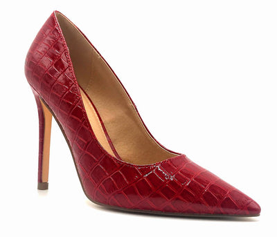 Olivia Jaymes Dundee Red Croc PU Color Pumps Right Side View, Women Shoes