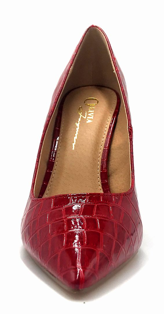 Olivia Jaymes Dundee Red Croc PU Color Pumps Front View, Women Shoes