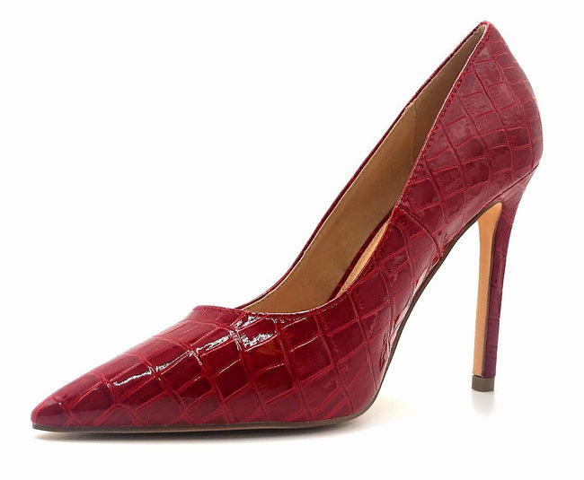 Olivia Jaymes Dundee Red Croc PU Color Pumps Left Side view, Women Shoes