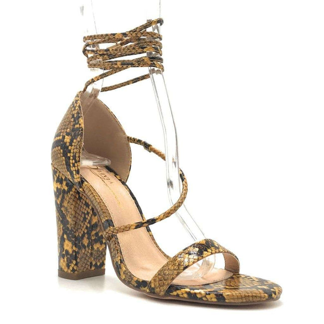 Olivia Jaymes Elsie Mustard Snake Fabric Color Heels Shoes for Women