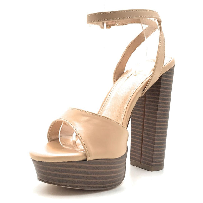 Olivia Jaymes Emmy Nude PU Color Heels Shoes for Women