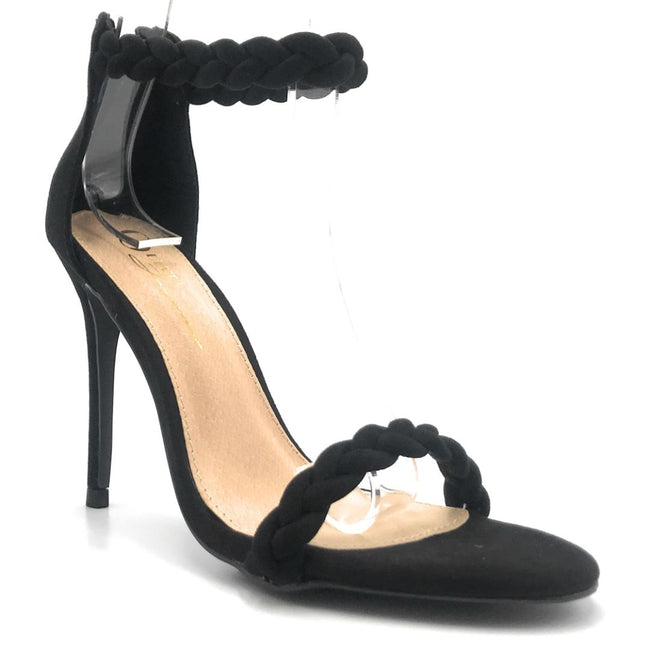 Olivia Jaymes Farah Black Suede Color Heels Shoes for Women