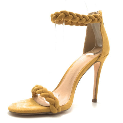 Olivia Jaymes Farah Mustard Suede Color Heels Shoes for Women