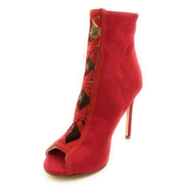 Olivia Jaymes Felicia Red Suede Color Heels Shoes for Women