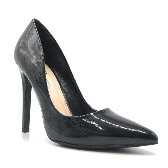 Olivia Jaymes Glassy Black Patent Color Heels Shoes for Women