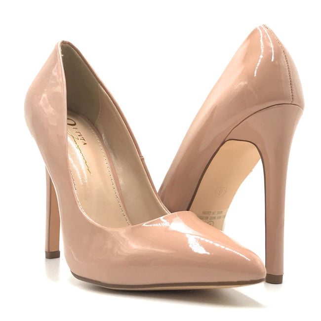 Olivia Jaymes Glassy Taupe Patent Color Heels Shoes for Women
