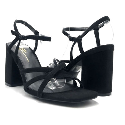 Olivia Jaymes Hifive Black Suede Color Heels Both Shoes together, Women Shoes