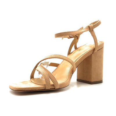 Olivia Jaymes Hifive Camel Suede Color Heels Left Side view, Women Shoes