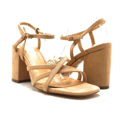 Olivia Jaymes Hifive Camel Suede Color Heels Both Shoes together, Women Shoes