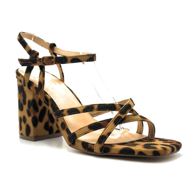 Olivia Jaymes Hifive Leopard Suede Color Heels Right Side View, Women Shoes