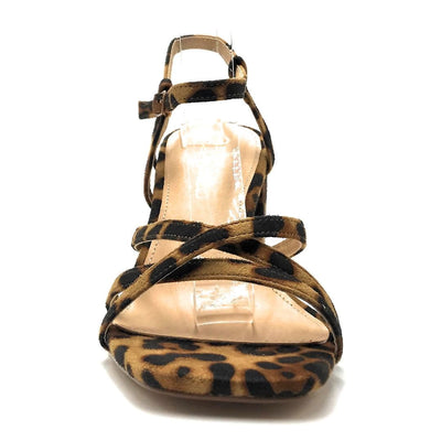 Olivia Jaymes Hifive Leopard Suede Color Heels Front View, Women Shoes