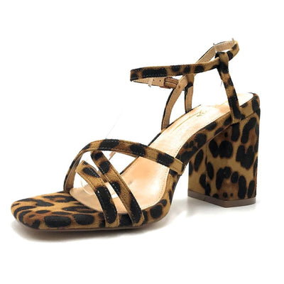 Olivia Jaymes Hifive Leopard Suede Color Heels Left Side view, Women Shoes
