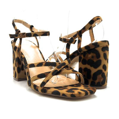 Olivia Jaymes Hifive Leopard Suede Color Heels Both Shoes together, Women Shoes
