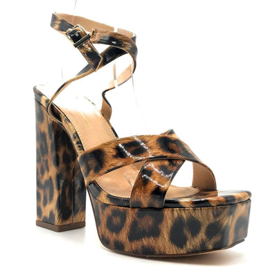 Olivia Jaymes Jubilee Leopard Patent PU Color Heels Right Side View, Women Shoes