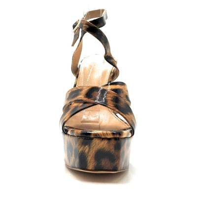 Olivia Jaymes Jubilee Leopard Patent PU Color Heels Front View, Women Shoes