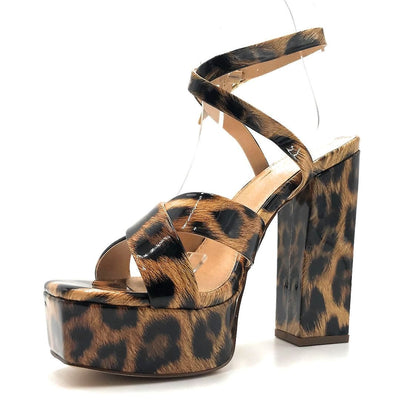 Olivia Jaymes Jubilee Leopard Patent PU Color Heels Left Side view, Women Shoes